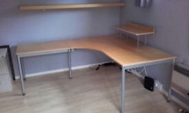 Ikea large extendable wooden corner desk and shelves £60 collection from Twyford