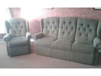 Very good condition, comfortable settee and armchair