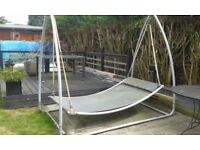 Double Garden Grey Swing Bed With Pillow. Grey Metal Frame In working order but needs some TLC
