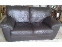 2nd hand 2 Seater brown leather sofa, good quality soft leather