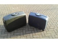2x Hard Shell Delsey Suitcases - 1x Black (Large) & 1x Blue (Medium) - excellent condition