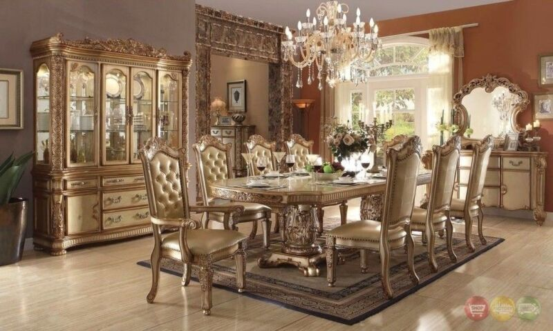 """Vendome Baroque 84""""-120""""luxury  9pc Dining Room Set W/ Gold Carved Wood Patina"""