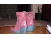 Red soft leather Fly shoes/boots. Good Condition