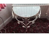 decorative metal table with glass top