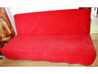 3 Seater Large King Size Sofa Bed With Under Bed Storage Red Cover Seat In Very Good Condition