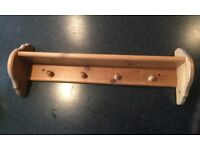 Large Pine Wooden 4 Coat Hook With Shelf Wall Mounted Used