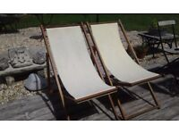 PAIR OF TEAK DECK CHAIRS SOUND AND SOLID DECKCHAIRS