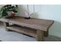 HAND MADE RUSTIC HEAVY WOOD TV BENCH TABLE WITH SHELVE