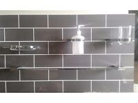 Towel Rail, Soap Dish, Soap Dispenser and Glass Holder For Sale.