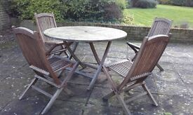 Wooden table & chairs (with cushions)