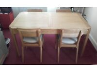 Antique oak dining table (Wentworth) - 5ft extending - & chairs - bought at Bradbeers furniture co.