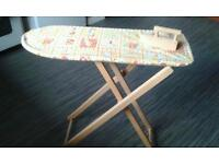 TOY WOODEN IRONING BOARD AND IRON