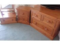Pine Furniture - Chest of drawers, bedside table and ful length mirror with drawer