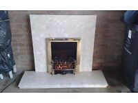 Marble fireplace hearth and back panel with coal effect electric fire. Good condition.