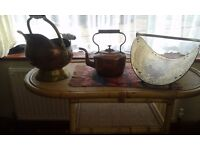 Collection of brass and copper vintage Objects.