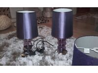 Purple Light shade with two purple side lamps.
