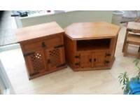 Solid wood TV unit and Hi fi unit and nest of tables