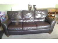 Dark brown faux leather ikea 3 seater sofa