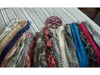 Collection of 15 Ladies/Womens fashion scarfs.some branded
