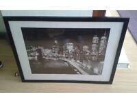 Black & White New York Print with Black High Gloss Frame