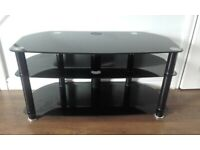 Large Black Glass Three Tier TV Stand . VERY LOCAL Delivery Possible .