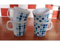 Melamine Mugs; 4 Blue/White