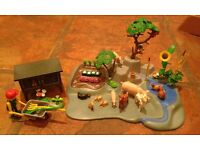 Playmobil garden with rabbit hutch