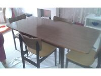 1960's veneer dining table and 4 chairs