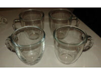 4 x Bodum Clear Glass Mugs