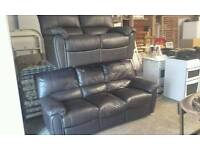 RECLINING 3&2 BROWN LEATHER SOFAS