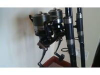 2 X FOX WARRIOR 12FT 3LB TC CARP RODS & 2 X DAIWA EMCAST EVO 5000 AB BIG PIT CARP REELS