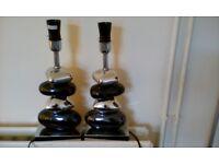2 X Table Pebble Gun Metal And Chrome Lights - No Shades