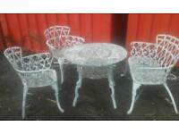 Vintage ornate antique cast 4 piece garden table and chairs set shabby chic bistro patio