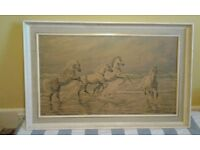 BEAUTIFUL EQUINE LARGE PRINT (High spirits) signed. Unknown artist. Offers on £30. NO TEXTS PLEASE