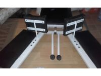 Leg stretching machine with pneumatic lever - suits martial artists. ballet superstars etc.
