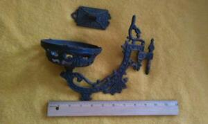 Antique ornate cast iron reflector wall holder & bracket -1920's