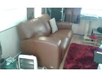 As new 2 seater settee brown distress leather look
