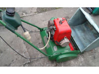 Qualcast cylinder mower and box.