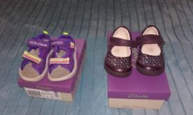 Toddlers Clarkes sandals and shoes, sandals= size 4.5F, shoes=5.5F