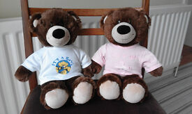 Two Build-a-Bear Brown Bears with T-Shirts
