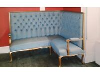 CORNER SETTEE (BLUE) - Late 19th Century - Immaculate Condition