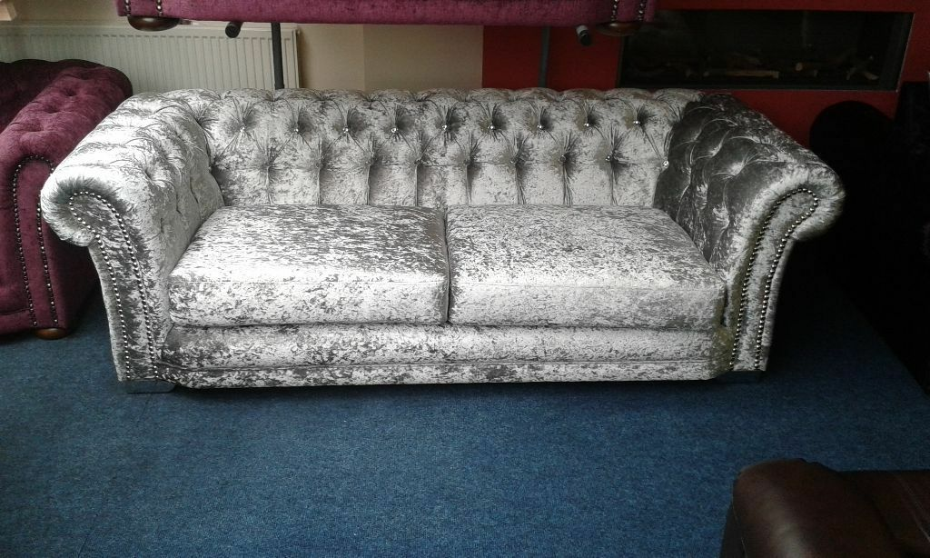 New 3 Plus 2 Seater Chesterfield Sofas In Silver Crushed