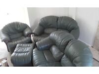 leather Armchair, 2 two seater settees and footstool
