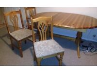Extendable table pine table very solid chairs dining table