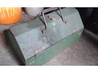 Tool box containing vintage spanners