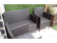 RATTERN SETTEE AND TWO CHAIRS NO CUSHIONS