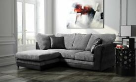 Stylish BRAND NEW black and grey jumbo cord corner sofa ,good quality,any side,can deliver