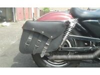 harley davidson sportster leather saddlebags and supports