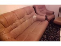 THREE SEATER GOLD LEATHER SETTEE , CHAIR & PUFFEE.
