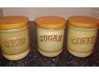 Stoneware Tea Coffee & Sugar pots